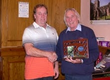 Our President Mick Andrews Presenting a Trophies at one of our Xmas parties